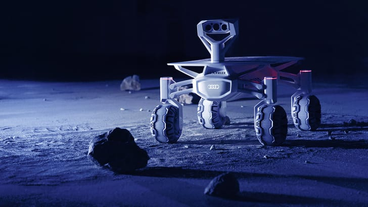 MISSION TO THE MOON Audi lunar quattro Top speed 3.6 km/h – The Audi lunar quattro, the moon rover.