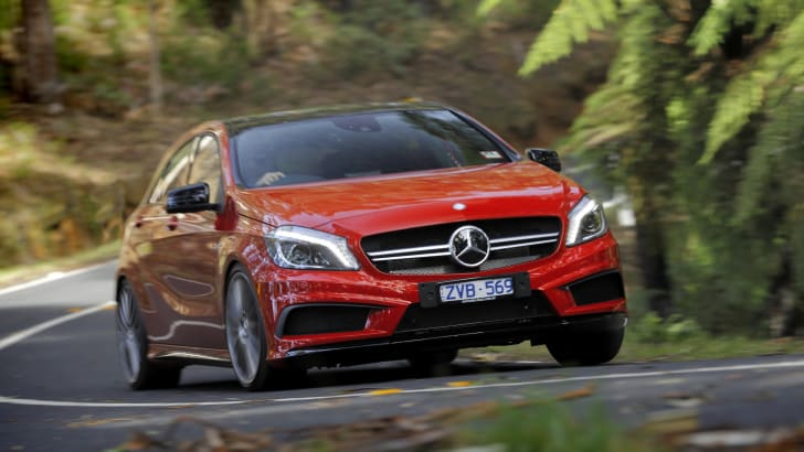 Mercedes-Benz A45 AMG forest cornering