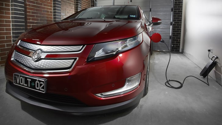 Holden Volt charging in a garage