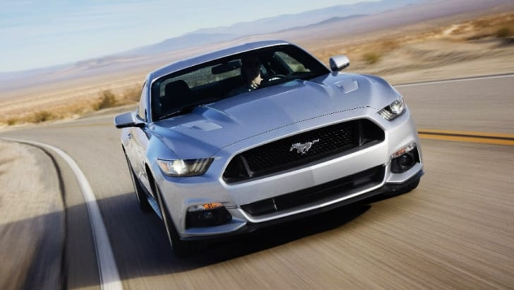 Ford Mustang silver front driving