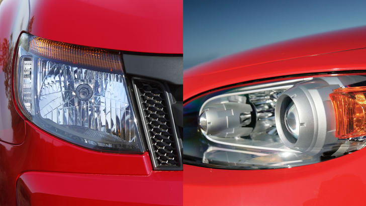 Ford Ranger reflector and Mazda MX-5 projector halogen headlights
