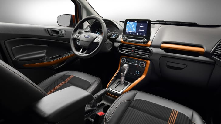 Ford EcoSport SES features unique interior styling cues such as bold copper accents on the instrument and door panels along with sport seats.