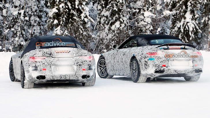 Шпионские фотографии Mercedes-Benz SL 2022 года показывают двигатель V8 и интерьер S-класса | CarAdvice