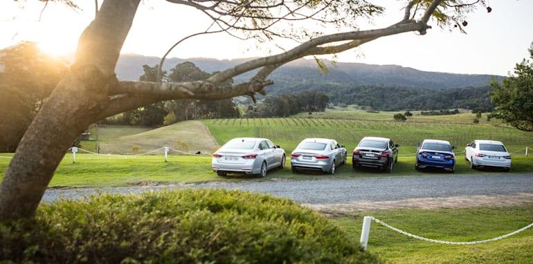 2016 Luxury sedan comparison Hyundai Genesis Ultimate v Jaguar XF 20d Prestige v Infiniti Q70 GT v Lexus GS200t F Sport v Skoda Superb sedan 206TSI-297