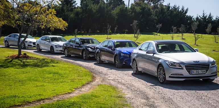 2016 Luxury sedan comparison Hyundai Genesis Ultimate v Jaguar XF 20d Prestige v Infiniti Q70 GT v Lexus GS200t F Sport v Skoda Superb sedan 206TSI-23
