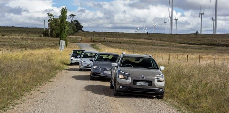 Eco-Test Country loop - Audi A3 e-tron v BMW i3 v Citroen C4 Cactus v Toyota Prius-50