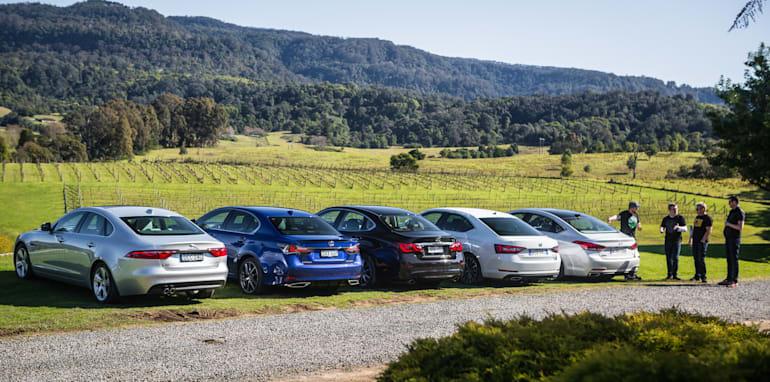 2016 Luxury sedan comparison Hyundai Genesis Ultimate v Jaguar XF 20d Prestige v Infiniti Q70 GT v Lexus GS200t F Sport v Skoda Superb sedan 206TSI-14