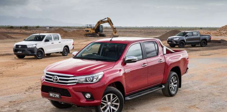 2015 Toyota HiLux double cabs: SR5 (front), SR (rear) and Workmate