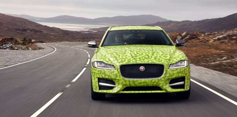 Jaguar XF Sporbrake Tennis Ball Camouflage, the new XF Sportbrake will be revealed on 14th June by world number one tennis player, Andy Murray.