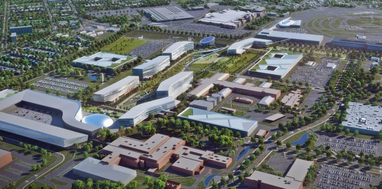 Dearborn Campus Transformation: Product Campus aerial