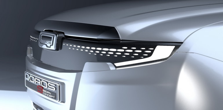 Qoros 9 Sedan Concept grille and headlights