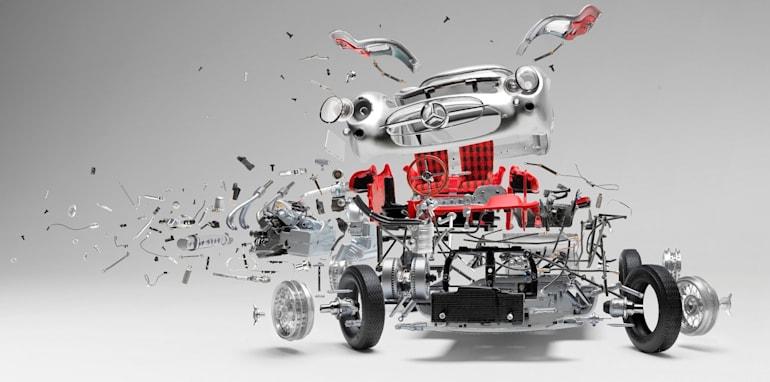 Disintegrating Mercedes-Benz 300 SLR