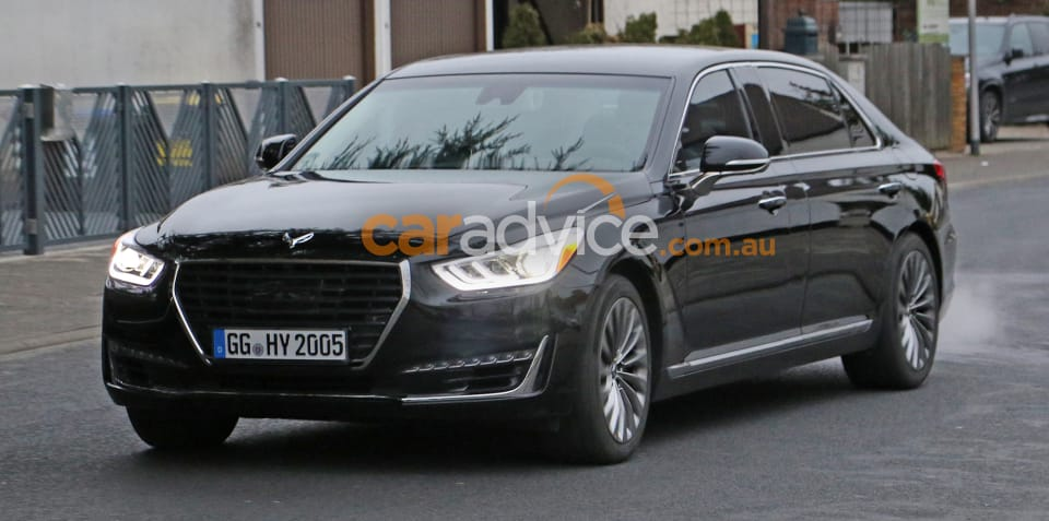 Genesis G90 spied in long-wheelbase form