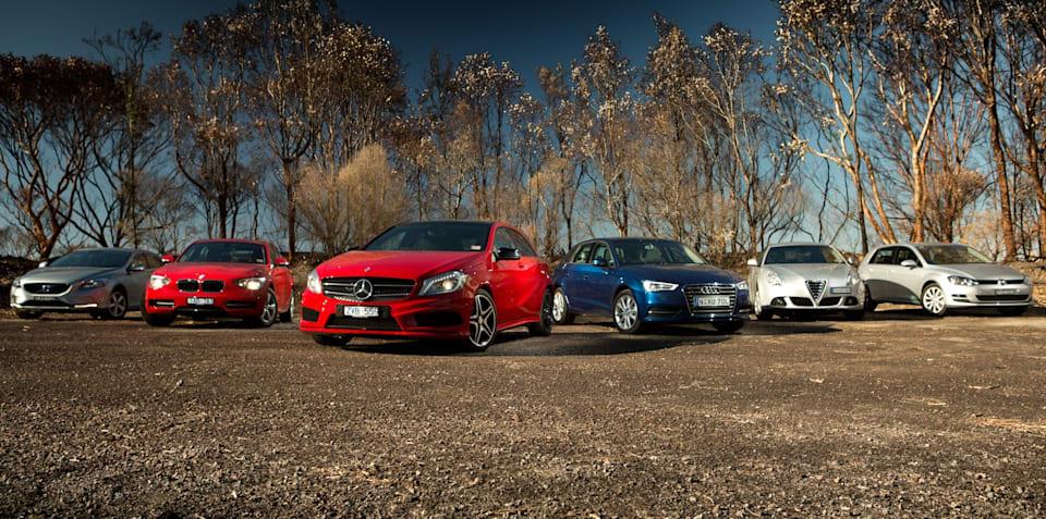 Premium hatch comparison: Audi A3 v BMW 1 Series v Mercedes-Benz A-Class v Alfa Romeo Giulietta v Volkswagen Golf v Volvo V40