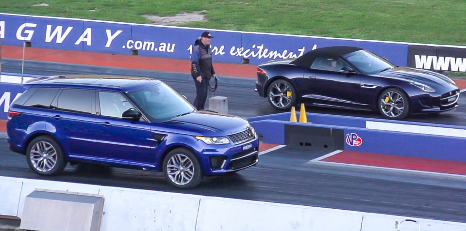 Jaguar F-Type R AWD Convertible v Range Rover Sport SVR dragstrip battle
