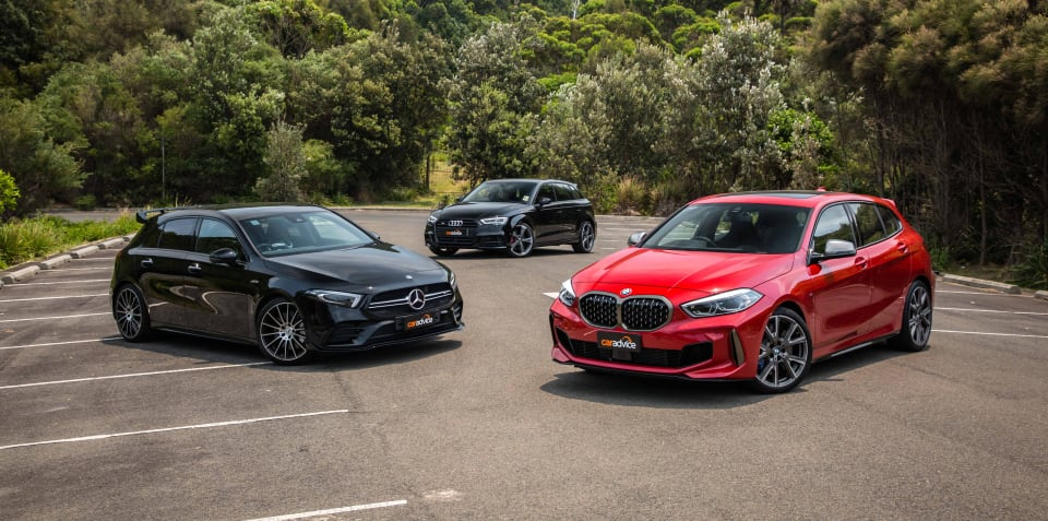 2020 BMW M135i xDrive v Mercedes-AMG A35 v Audi S3 comparison