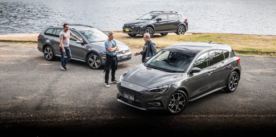 2019 Ford Focus Active v Subaru XV v Volkswagen Golf Alltrack comparison