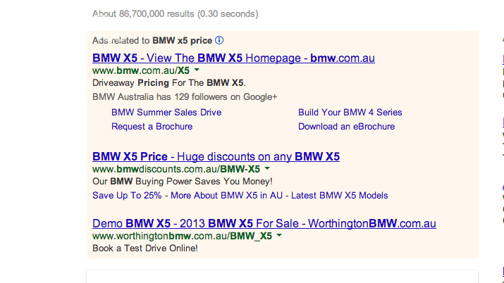 Google Australia starts showing US car prices and MPG for