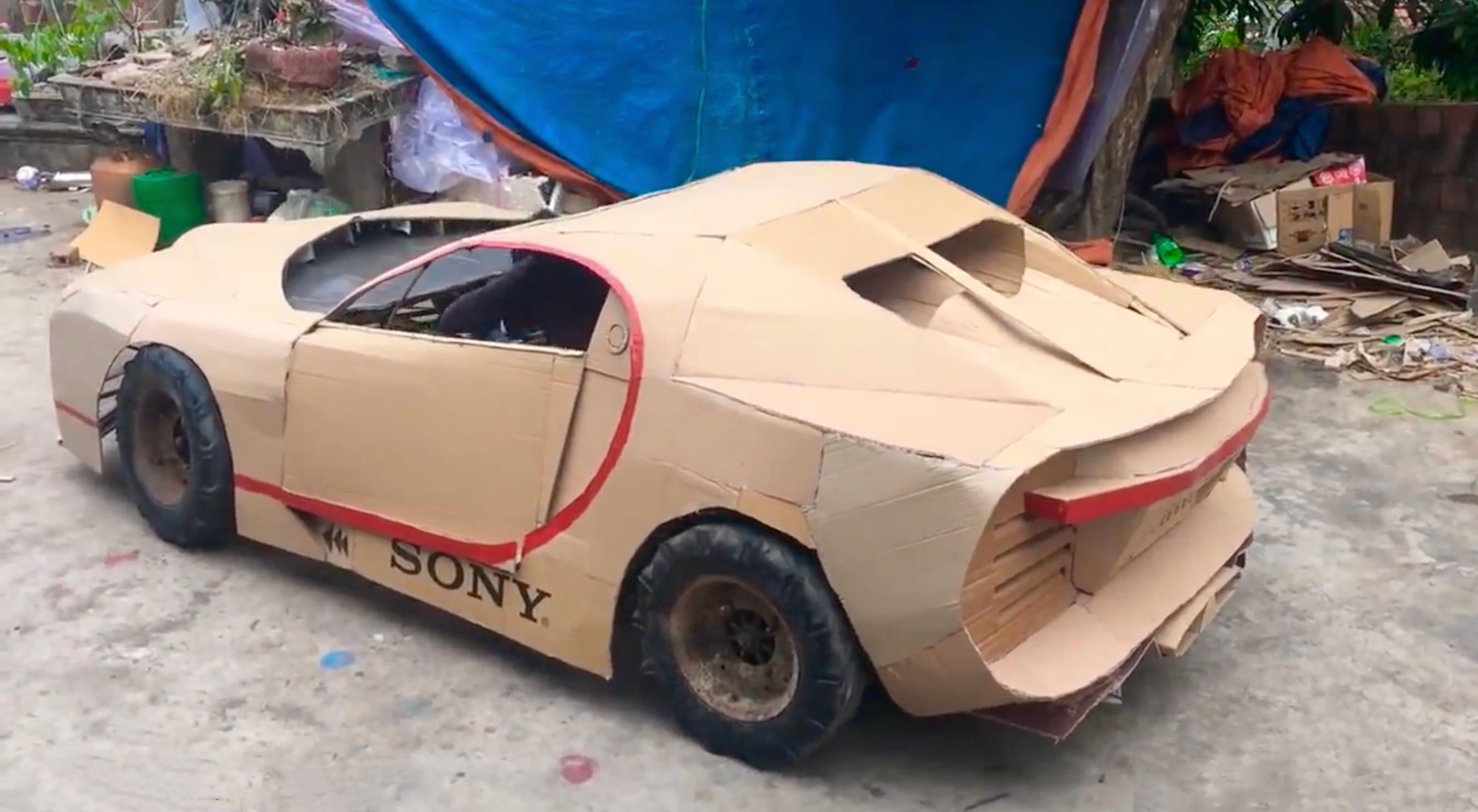 World S Fastest Car Bugatti Chiron Made From Cardboard Caradvice