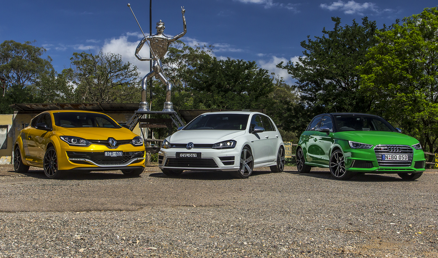 Audi S1 v Renault Megane RS275 Trophy v Volkswagen Golf R