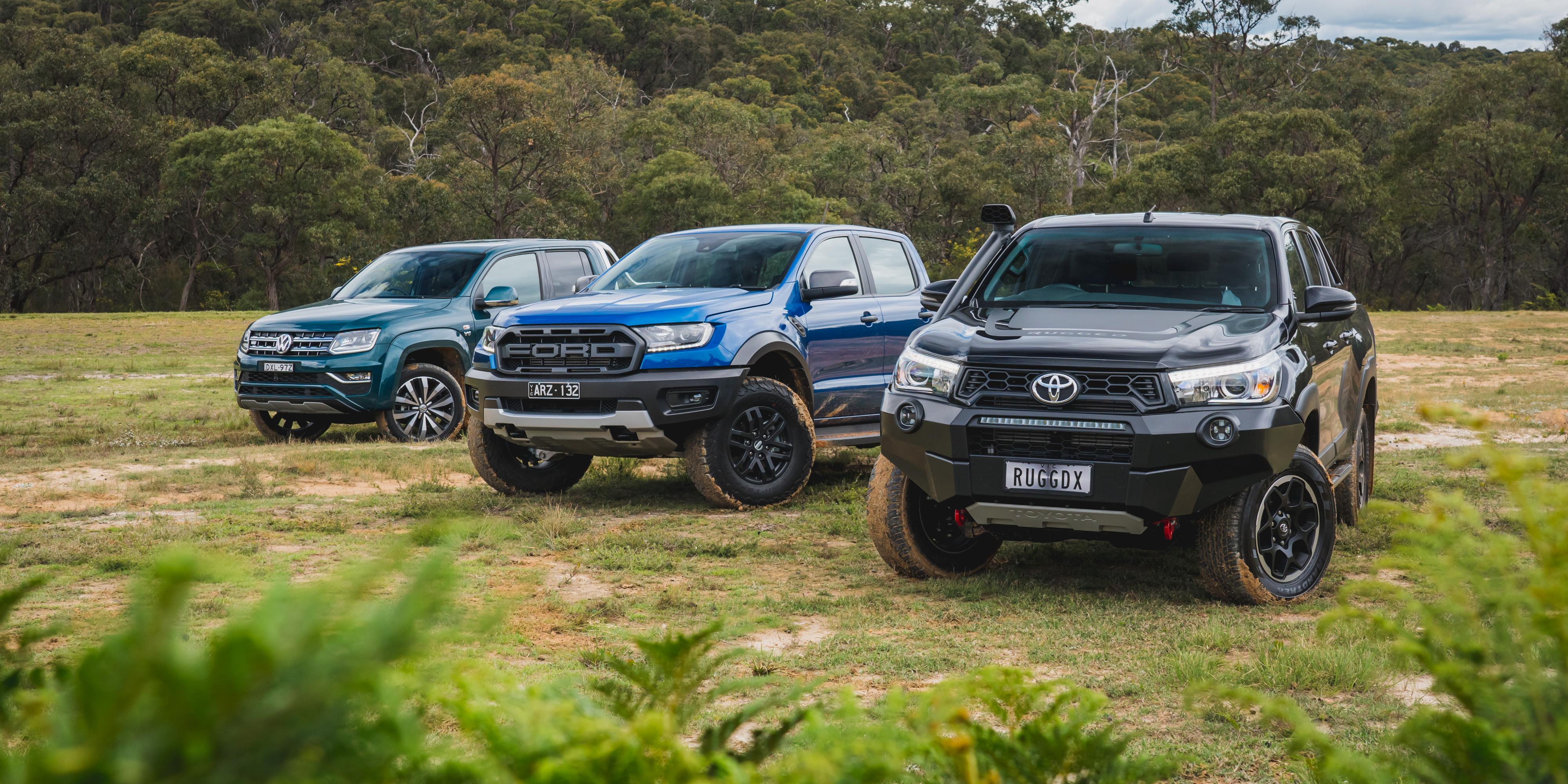 Ford Ranger Raptor v Toyota HiLux Rugged X v Volkswagen Amarok