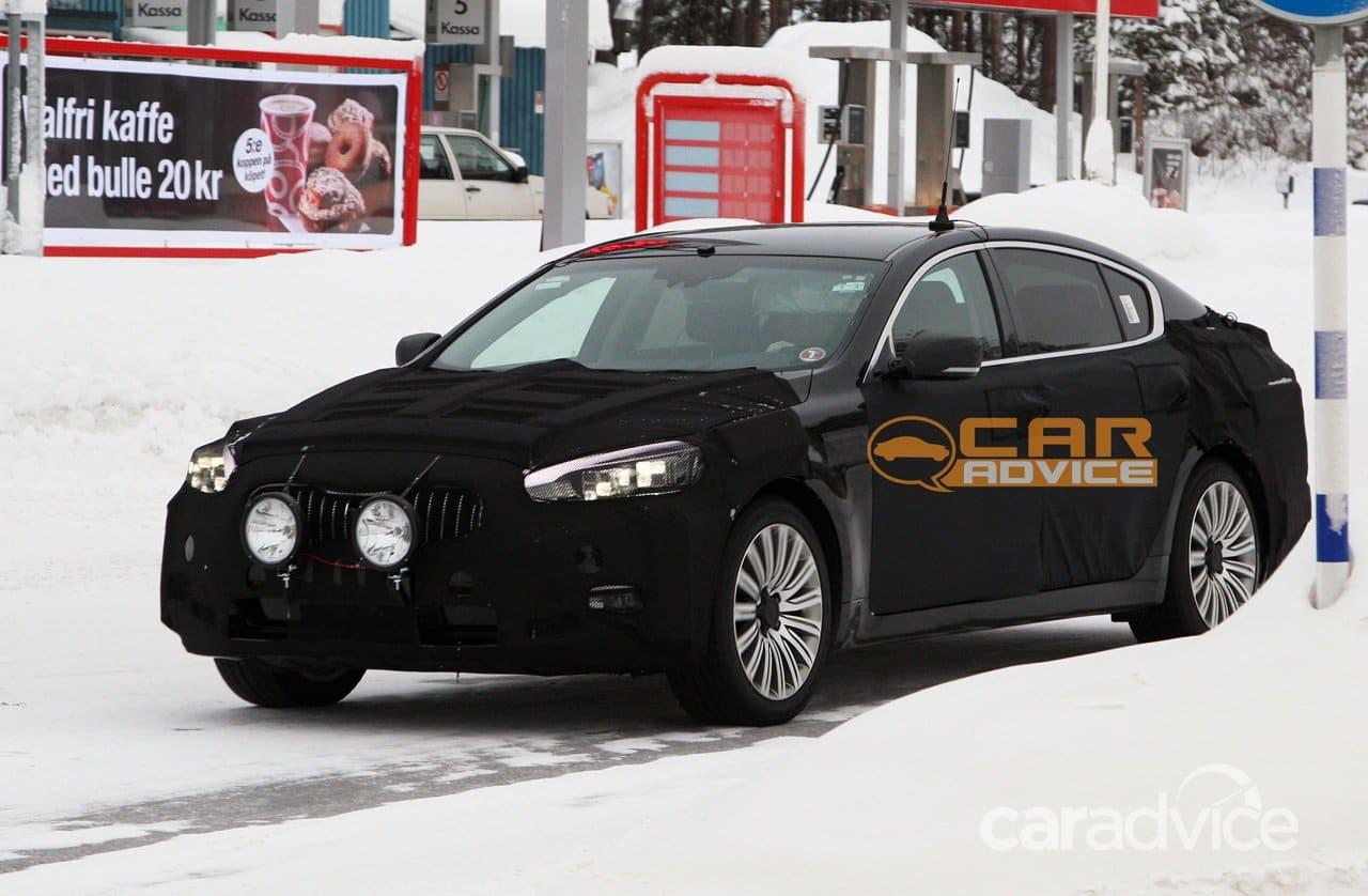 kia k9 spy shots luxury sedan targets germans  caradvice