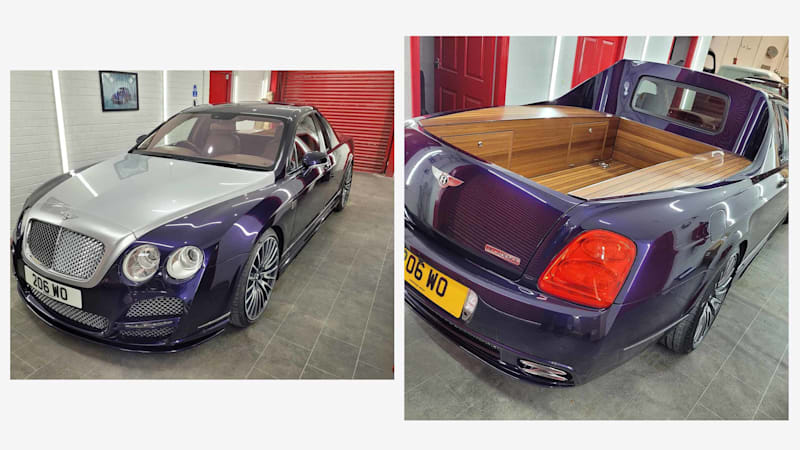 Tray chic: Bentley Continental Flying Spur pick-up custom-built in the UK